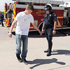 "Student volunteer actor Joe Konopka, left, ""tries"" to take a roadside  sobriety test given by Broomfield Police traffic officer Paul Lesh during the pre-prom drunk driving accident demonstration at Legacy High School on Thursday.<br /> <br /> April 26, 2012 <br /> staff photo/ David R. Jennings"