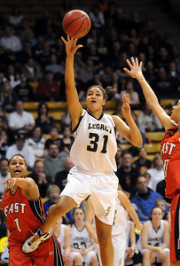 Legacy's Sade Akindele goes to the basket against Denver East during the class 5A championship game at the Coors Events Center in Boulder on Friday.   March 10, 2010 Staff photo/David R. Jennings