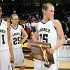 Legacy's Carli Moreland holds the second place trophy after the loss to Denver East in the class 5A championship game at the Coors Events Center in Boulder on Friday.<br /> <br /> <br /> March 10, 2010<br /> Staff photo/David R. Jennings