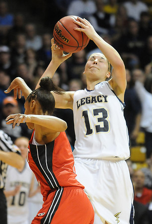 Legacy's Taylor Archuleta shoots against Denver East during the class 5A championship game at the Coors Events Center in Boulder on Friday.<br /> <br /> <br /> March 10, 2010<br /> Staff photo/David R. Jennings