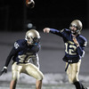 Legacy's quarterback Bradie Koch throws a pass while protected by Colton Chavez during play against Mullen in Friday's game at North Stadium.<br /> <br /> November 13, 2009<br /> Staff photo/David R. Jennings