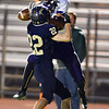Legacy's Drew Hebel breaks up a pass to Boulder's River Addison during Thursday's game at Five Star Stadium in Thornton.<br /> October 18, 2012<br /> staff photo/ David R. Jennings
