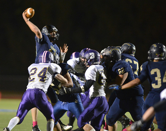 Legacy's quarterback Steven Yoshihara throws a pass against Boulder during Thursday's game at Five Star Stadium in Thornton.<br /> October 18, 2012<br /> staff photo/ David R. Jennings