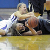 """Legacy's Emily Glen and  Boulder's Lena Jaycox battle for the ball  during Thursday's game at Centaurus for the Boulder Valley Invitational tournament .<br /> <br /> For more photos please go to  <a href=""""http://www.broomfieldenterprise.com"""">http://www.broomfieldenterprise.com</a>.<br /> <br /> December 8, 2011<br /> Staff photo/ David R. Jennings"""