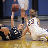 """Emily Glen, Legacy, left, battles for possession of the ball with Lea Jaycox, Boulder, during Thursday's game at Centaurus for the Boulder Valley Invitational tournament .<br /> <br /> For more photos please go to  <a href=""""http://www.broomfieldenterprise.com"""">http://www.broomfieldenterprise.com</a>.<br /> <br /> December 8, 2011<br /> Staff photo/ David R. Jennings"""