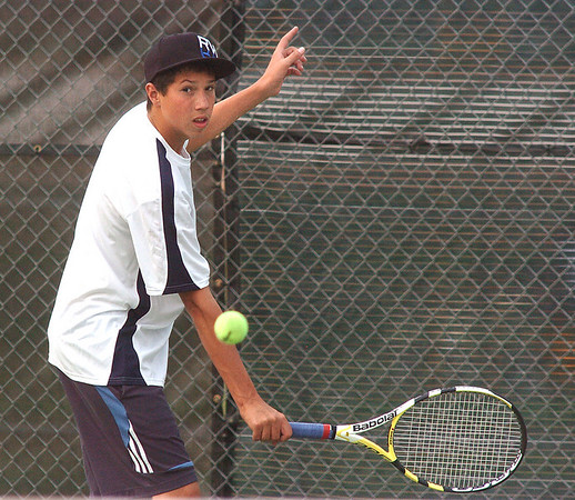 Jackson Maranoff, Legacy #3 singles, returns the ball back to Brighton's #3 singles player Gabriel Morales during the match at Legacy on Tuesday.<br /> <br /> Sept. 1, 2009<br /> staff photo/David R. Jennings