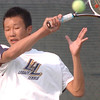 Alex Ho, Legacy #2 singles, returns the ball to Brighton's #2 singles player David Evangelista during the match at Legacy on Tuesday.<br /> <br /> Sept. 1, 2009<br /> staff photo/David R. Jennings