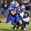 Broomfield's Ryan McCulley runs the ball against Legacy during the Broomfield vs. Legacy football game at Elizabeth Kennedy Stadium on Friday.<br /> September 7, 2012<br /> staff photo/ David R. Jennings