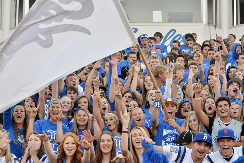 Broomfield Eagles fans cheer during the Broomfield vs. Legacy football game at Elizabeth Kennedy Stadium on Friday.<br /> September 7, 2012<br /> staff photo/ David R. Jennings