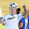 Legacy's Mady Huber does a header past Broomfield's Kerri Marquardt during Thursday's game at North Stadium.<br /> <br /> March 15,  2012 <br /> staff photo/ David R. Jennings