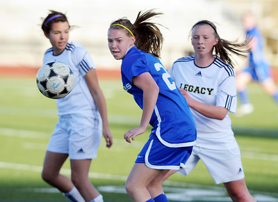 Broomfield's Katie Forsee goes after the ball against Legacy during Thursday's game at North Stadium.  March 15,  2012  staff photo/ David R. Jennings