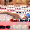Broomfield's Heather Shaver competing in the 500 yard freestyle event during Tuesday's Legacy vs. Broomfield swim meet at the Veterans Memorial Aquatic Center in Thornton.<br /> <br /> January 25, 2011<br /> staff photo/David R. Jennings