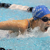 Zoe Gossett swims in the 100 yard butterfly event during Tuesday's Legacy vs. Broomfield swim meet at the Veterans Memorial Aquatic Center in Thornton.<br /> <br /> January 25, 2011<br /> staff photo/David R. Jennings