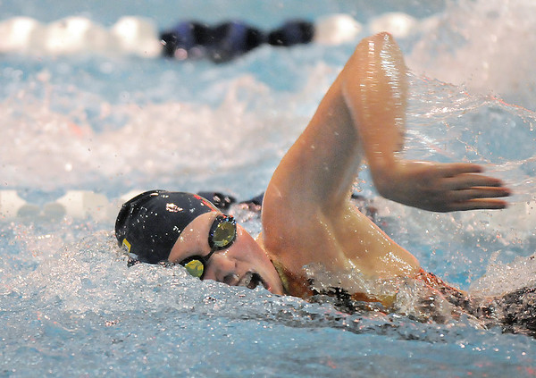 Legacy's Rachel Wood competing in the 200 yard freestyle relay event during Tuesday's Legacy vs. Broomfield swim meet at the Veterans Memorial Aquatic Center in Thornton.<br /> <br /> January 25, 2011<br /> staff photo/David R. Jennings