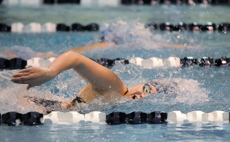 Legacy's Brittany Holloway competing in the 100 yard freestyle event during Tuesday's Legacy vs. Broomfield swim meet at the Veterans Memorial Aquatic Center in Thornton.<br /> <br /> January 25, 2011<br /> staff photo/David R. Jennings