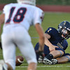 Legacy's quarterback Patrick Medina fumbles the ball after getting injured during Friday's game against Chaparral at North Stadium.<br /> September 14, 2012<br /> staff photo/ David R. Jennings