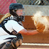 Legacy's catcher Kelsey Dempsey catches a pitch from Rainey Gaffin during Friday's game against Erie at the Erie Softball Tournament.<br /> <br /> <br /> September 2, 2011<br /> staff photo/ David R. Jennings