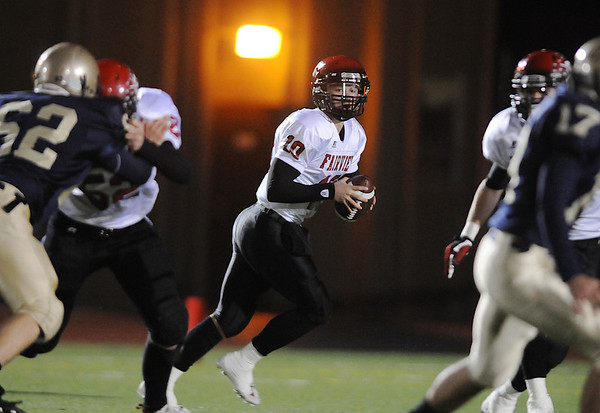 Fairview's quarterback Ben Schumacher looks for an open receiver  during Friday's game against Legacy  at 5 Star Stadium in Thornton.<br /> <br /> October 9, 2009<br /> Staff photo/David R. Jennings