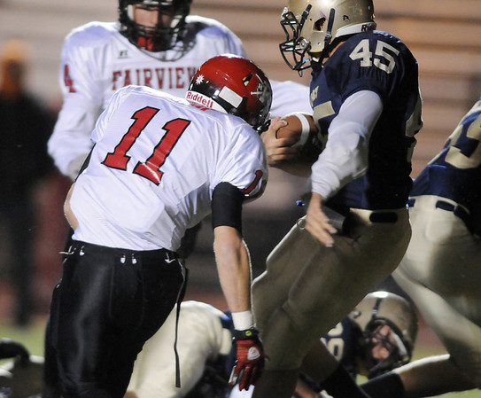 Colton Chavez, Legacy, turns past Tucker Tharp, Fairview, to score a touchdown during Friday's game at 5 Star Stadium in Thornton.<br /> <br /> <br /> October 9, 2009<br /> Staff photo/David R. Jennings