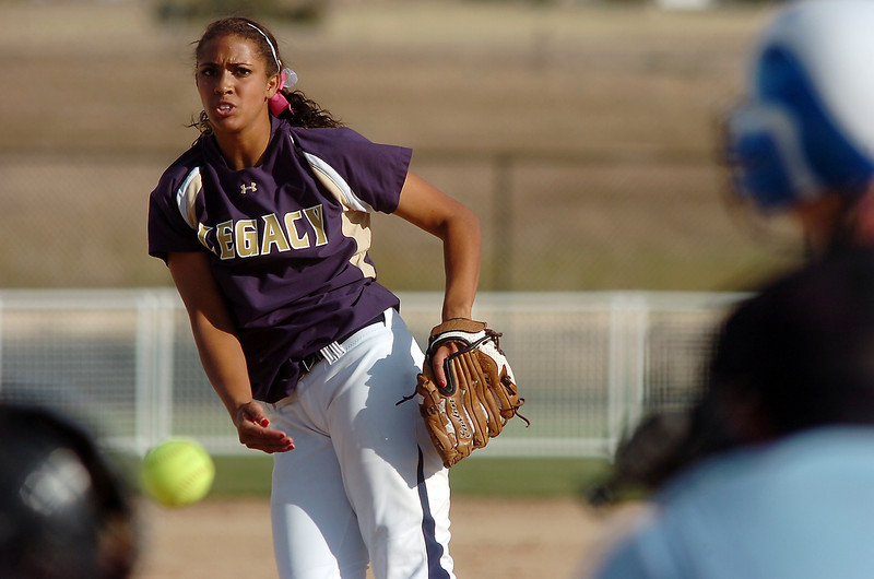 Legacy's Rainey Gaffin pitches against Fruita Monument during the state softball tournament at the Aurora Sparts Park on Friday.<br /> October 21, 2011<br /> staff photo/ David R. Jennings