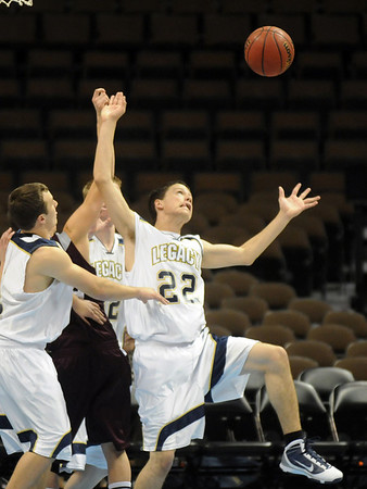Billy Hayward, Legacy, reaches out to rebound the ball during Wednesday's game against Horizon at the Pepsi Center in Denver.<br /> <br /> <br /> January 13, 2010<br /> Staff photo/David R. Jennings