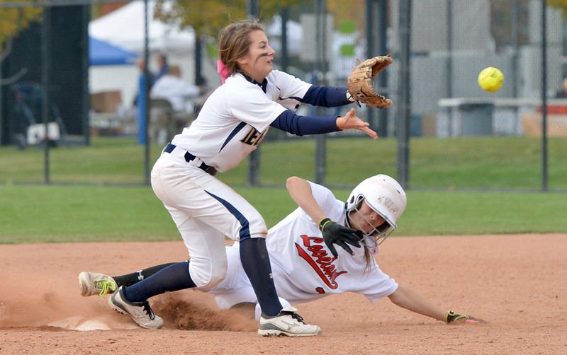 Legacy's Paige Reichmuth, left, forces Loveland's Braydee Bakovich out at second base during Saturday's state semi final 5A softball championship game at Aurora Sports Park.<br /> <br /> October 20, 2012<br /> staff photo/ David R. Jennings