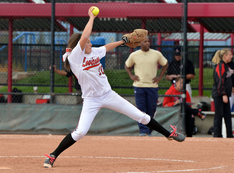 Loveland's Cassidy Smith throws against Legacy during Saturday's state semi final softball championships at Aurora Sports Park.<br /> <br /> October 19, 2012<br /> staff photo/ David R. Jennings