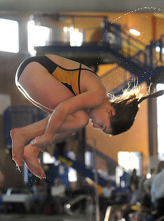 Legacy's diver Brie Garside warms up before diving during the meet against Monarch at the Louisville Recreation Center on Friday.<br /> <br /> January 15, 2010<br /> Staff photo/David R. Jennings