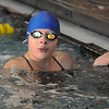 Legacy's Brittany Holloway looks at her time in the 50 meter freestyle event during the meet against Monarch at the Louisville Recreation Center on Friday.<br /> <br /> January 15, 2010<br /> Staff photo/David R. Jennings