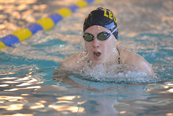 Legacy's Kayla Stuckey swimming the breast stroke in the 200 meter IM event  during the meet against Monarch at the Louisville Recreation Center on Friday.<br /> <br /> <br /> January 15, 2010<br /> Staff photo/David R. Jennings