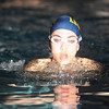 Legacy's Brittany Becker swimming the breast stroke in the 200 meter medley relay event in the meet against Monarch at the Louisville Recreation Center on Friday.<br /> <br /> January 15, 2010<br /> Staff photo/David R. Jennings