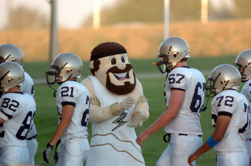 BE0919LFOOT09<br /> Legacy's mascot cheers on the team before Friday's game against Mountain Range at North Stadium in Westminster<br /> <br /> September 17, 2010<br /> staff photo/David R. Jennings