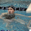 Legacy's Mary Lombardi looks at her time in the 500 yard freestyle during the swim meet against Mountain Range at the Veteran's Memorial Aquatic Centeron Thursday.<br /> For more photos please see the broomfieldenterprise.com<br /> December 1, 2011<br /> staff photo/ David R. Jennings