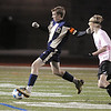 Ryan Rallsback, left, Legacy, keeps the ball away from Andy Perkins, Mountain View during Tuesday's game at North Stadium.<br /> <br /> October 13, 2009<br /> Staff photo/David R. Jennings
