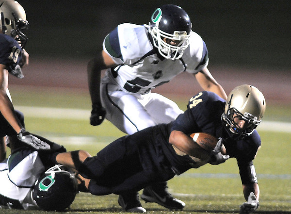 Legacy's Phydell Paris makes a touchdown against Overland during Thursday's game at North Stadium.<br /> September 1, 2011<br /> staff photo/ David R. Jennings