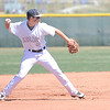 Legacy's Dylan Farrell thros to first base after caching a Pomona ground ball during Saturday's game at Legacy.<br /> April 7, 2012 <br /> staff photo/ David R. Jennings