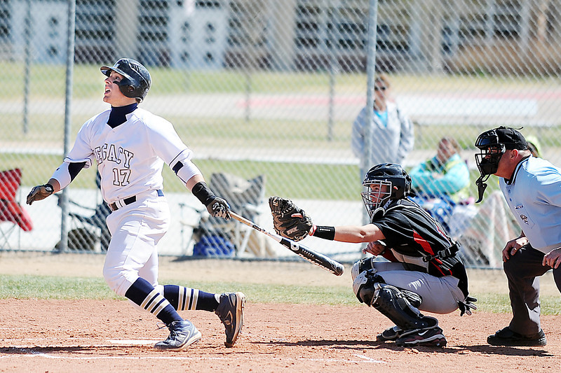 Legacy's Jakob Bublitz hits the ball into the outfield against Pomona during Saturday's game at Legacy.<br /> April 7, 2012 <br /> staff photo/ David R. Jennings