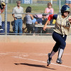 Legacy High School senior Kaitlyn Mattila runs to second base at the Legacy vs. Ralston softball game on Friday, Aug. 28, 2009 at Ralston Valley High School. <br /> <br /> Photo by Mara Auster/Daily Camera