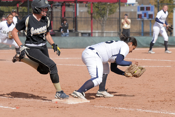 Legacy's Angelique Archuleta forces Rock Canyon's Zayne Blumberg at third base during the state 5A semifinal game on Saturday at the Aurora Sports Park.<br /> October 22, 2011<br /> staff photo/ David R. Jennings