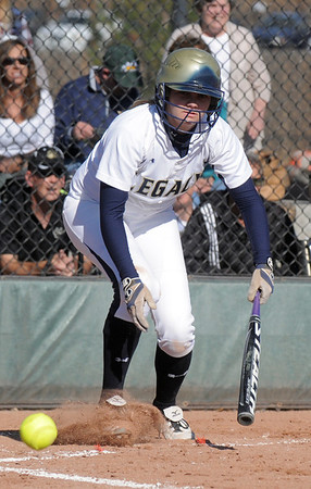Legacy's Kylie Barnard hits a bunt against Rock Canyon during the state 5A semifinal game on Saturday at the Aurora Sports Park.<br /> October 22, 2011<br /> staff photo/ David R. Jennings