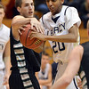 Legacy's Eyotam Mengist shot is blocked by  Fossil Ridge's Andrew Semadeni during Thursday's game at Legacy. <br /> January 27, 2013<br /> staff photo/ David R. Jennings