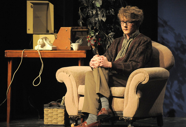 """Wil Vickroy as the Man in the Chair narrates through the musical preformances during Friday's rehearsal of Legacy High's production of """"The Drowsy Chaperone"""".<br /> February 4, 2011<br /> staff photo/David R. Jennings"""