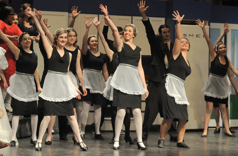 "The maids dance their way through a musical number during Friday's rehearsal of Legacy High's production of ""The Drowsy Chaperone"".<br /> February 4, 2011<br /> staff photo/David R. Jennings"