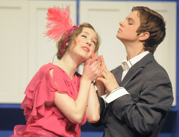 """Audrey Felderman as Mrs. Trottendale takes the hand of Paul Hunter as Underling her butler during Friday's rehearsal of Legacy High's production of """"The Drowsy Chaperone"""".<br /> February 4, 2011<br /> staff photo/David R. Jennings"""