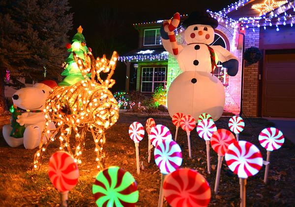Lollypops and a snowman are in the holiday lighting display at 1065 W. 11th Ct. in Broomfield.<br /> December 6, 2012<br /> staff photo/ David R. Jennings