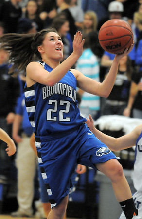 Brittney Zec, Broomfield goes for a layup against Longmont during Tuesday's game at Longmont High.<br /> <br /> February 8, 2011<br /> staff photo/David R. Jennings