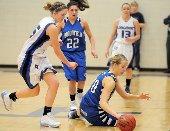 Meagan Prins, Broomfield looses the ball as Tambre Haddock, Longmont closes in during Tuesday's game at Longmont High.<br /> <br /> February 8, 2011<br /> staff photo/David R. Jennings