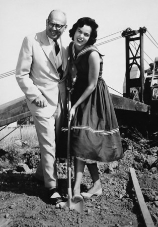 Breaking ground for pool Pete DeLonghamb, left, and Marianne MacDonald,  Miss Broomfied Heights. <br /> <br /> courtesy of Depot Hill Museum