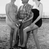 Wesley Shonkwiler, center, poses with Mrs. Helen Hallbeck and Miss Kay Denne on April 21, 1958 to promote a swimming pool.<br /> <br /> courtesy of the Depot Hill Museum.