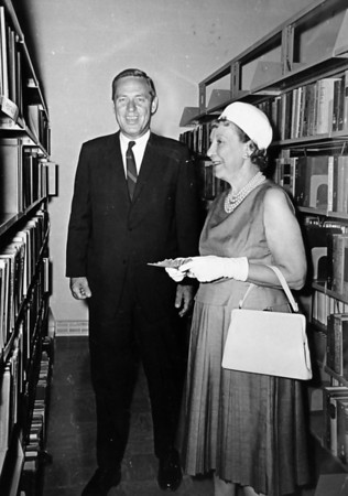 Mame Doud Eisenhower, right, with Colorado Governor John Love at the dedication of Broomfield's library named after the former First Lady on July 7, 1963.<br /> <br /> <br /> photo courtesy of Depot Hill Museum